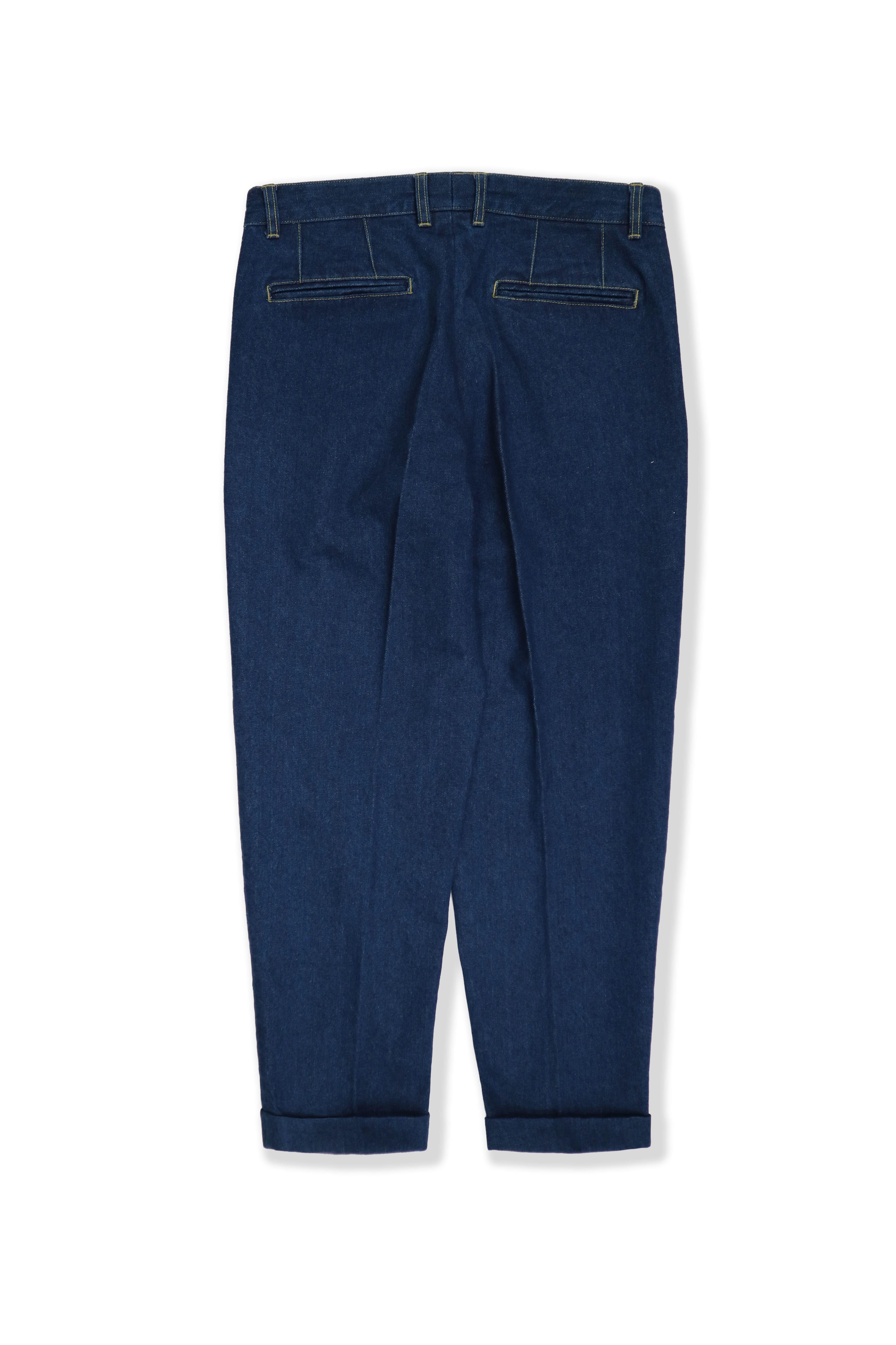 2 pleats trousers - washed denim